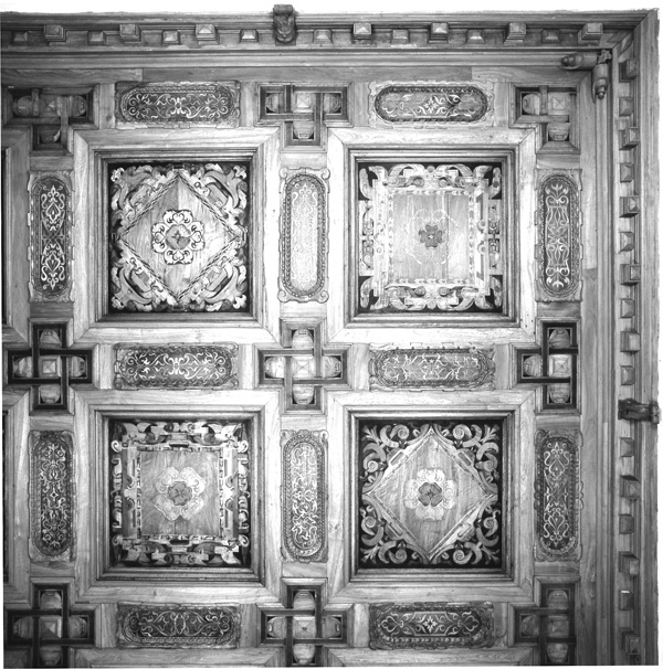 intarsierte Kassettendecke (1540), des Deutschen Saals in der Residenz zu Landshut  Endzustand